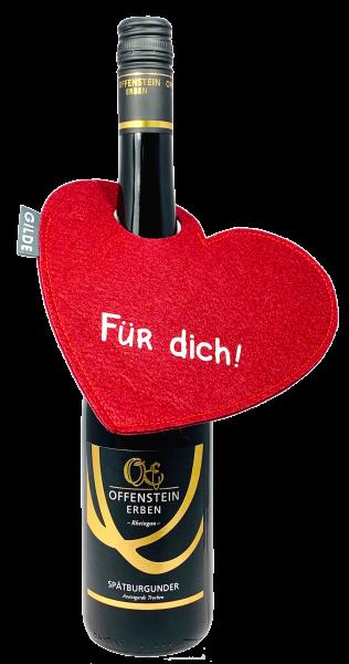 GILDE Filz Herz Flaschenanhänger OFFENSTEIN ERBEN SHOP